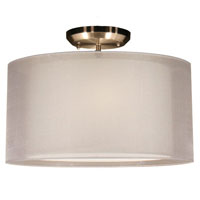 Z-Lite Nikko 3 Light Semi Flush Mount in Brushed Nickel and White 144-15W-SF photo thumbnail