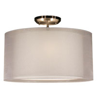 Z-Lite Nikko 3 Light Semi Flush Mount in Brushed Nickel and White 144-18W-SF photo thumbnail