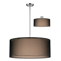 Z-Lite Nikko 3 Light Pendant in Brushed Nickel/Black 144-24BK-C