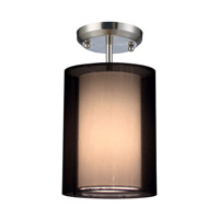 Z-Lite Nikko 1 Light Semi-Flush Mount in Brushed Nickel/Black 144-6BK-SF
