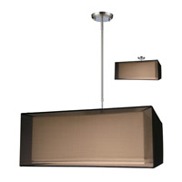 Z-Lite Nikko 3 Light Pendant in Brushed Nickel/Black 145-24BK-C