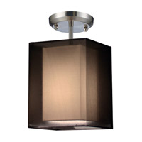 Z-Lite Nikko 1 Light Semi-Flush Mount in Brushed Nickel/Black 145-6BK-SF