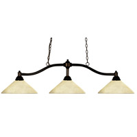 Z-Lite 147BRZ-AGM14 Chance 3 Light 50 inch Bronze Island/Billiard Ceiling Light in Golden Mottle Angular