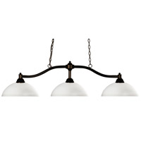 Chance 3 Light 50 inch Bronze Billiard Ceiling Light in Matte Opal Dome