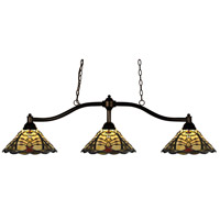Chance 3 Light 50 inch Bronze Billiard/Island Ceiling Light in Multi Colored Tiffany Glass (46)