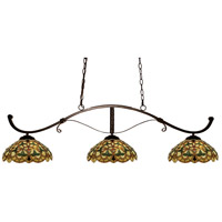 Howler 3 Light 52 inch Bronze Billiard/Island Ceiling Light in Multi Colored Tiffany Glass (C14)