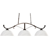 Howler 3 Light 52 inch Bronze Island Light Ceiling Light in White Linen Dome