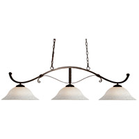 Howler 3 Light 48 inch Bronze Billiard Ceiling Light in White Mottle