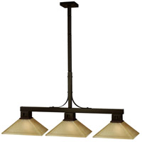 Flatwater 3 Light 48 inch Bronze Billiard Ceiling Light in Mission Golden Linen