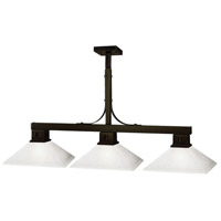 Flatwater 3 Light 48 inch Bronze Billiard Ceiling Light in Matte Opal