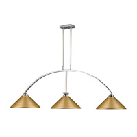 Martini 3 Light 61 inch Brushed Nickel Island Light Ceiling Light