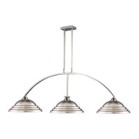 Martini 3 Light 61 inch Brushed Nickel Island Light Ceiling Light in Stepped Brushed Nickel