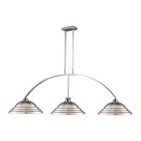 Martini 3 Light 61 inch Brushed Nickel Billiard Ceiling Light in Pewter Metal