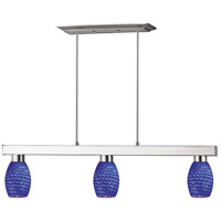Players 3 Light 42 inch Brushed Nickel Island Light Ceiling Light in Blue