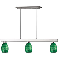 Z-Lite 152BN-131GREEN Cobalt 3 Light 42 inch Brushed Nickel Island/Billiard Ceiling Light in Green