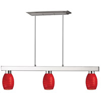 Players 3 Light 42 inch Brushed Nickel Island Light Ceiling Light in Red