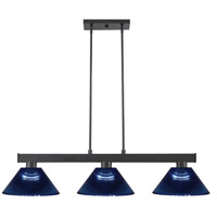 Z-Lite 152MB-ARDB Cobalt 3 Light 46 inch Matte Black Island/Billiard Ceiling Light in Dark Blue Acrylic