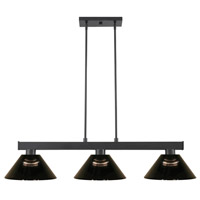 Z-Lite 152MB-ARS Cobalt 3 Light 46 inch Matte Black Island/Billiard Ceiling Light in Smoke Acrylic