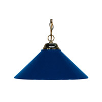 Signature 1 Light 14 inch Polished Brass Pendant Ceiling Light in Navy Blue Metal