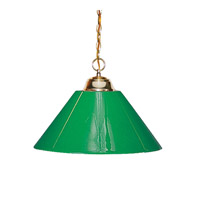 Signature 1 Light 14 inch Polished Brass Pendant Ceiling Light in Green Plastic
