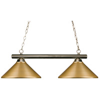 Z-Lite 155-2BN-MSG Sharp Shooter 2 Light 42 inch Brushed Nickel Island/Billiard Light Ceiling Light in Satin Gold Steel