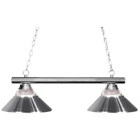 Z-Lite 155-2CH-RCH Sharp Shooter 2 Light 42 inch Chrome Island/Billiard Ceiling Light in Clear Ribbed and Chrome Glass and Steel