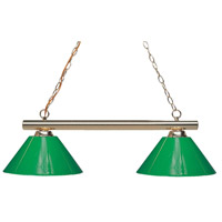 Sharp Shooter 2 Light 42 inch Polished Brass Billiard Ceiling Light in 14, Green Plastic