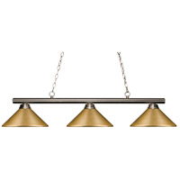 Z-Lite 155-3BN-MSG Sharp Shooter 3 Light 48 inch Brushed Nickel Island/Billiard Light Ceiling Light in 9 Satin Gold Steel