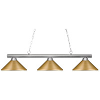 Z-Lite 155-3CH-MSG Sharp Shooter 3 Light 48 inch Chrome Island/Billiard Light Ceiling Light in Satin Gold Steel