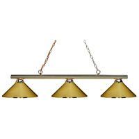 Sharp Shooter 3 Light 48 inch Polished Brass Billiard Ceiling Light in Polished Brass Metal
