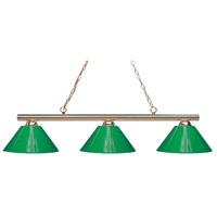 Sharp Shooter 3 Light 48 inch Polished Brass Billiard Ceiling Light in Green Plastic