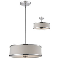 Z-Lite 164-16 Cameo 3 Light 16 inch Chrome Pendant Ceiling Light in White and Chrome photo thumbnail