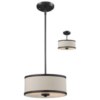Cameo 2 Light 12 inch Factory Bronze Pendant Ceiling Light in Creme and Bronze