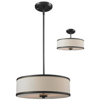 Z-Lite 165-16 Cameo 3 Light 16 inch Factory Bronze Pendant Ceiling Light in Creme and Bronze