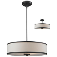 Cameo 3 Light 20 inch Factory Bronze Pendant Ceiling Light in Creme and Bronze