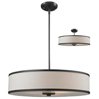 Z-Lite 165-24 Cameo 3 Light 24 inch Factory Bronze Pendant Ceiling Light in Creme and Bronze