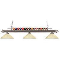 Shark 3 Light 58 inch Brushed Nickel Island Light Ceiling Light in Golden Mottle Angular