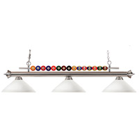 Shark 3 Light 60 inch Brushed Nickel Island Light Ceiling Light in Matte Opal Angular
