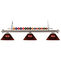 Shark 3 Light 58 inch Brushed Nickel Island Light Ceiling Light in Acrylic Burgundy