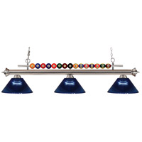 Shark 3 Light 58 inch Brushed Nickel Island Light Ceiling Light in Acrylic Dark Blue