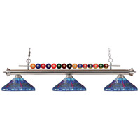 Shark 3 Light 60 inch Brushed Nickel Island Light Ceiling Light in Multi Colored Tiffany Glass (D16)