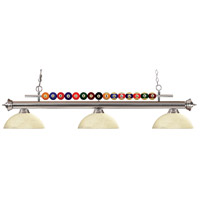 Shark 3 Light 58 inch Brushed Nickel Island Light Ceiling Light in Golden Mottle Dome