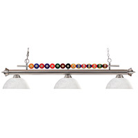 Shark 3 Light 58 inch Brushed Nickel Island Light Ceiling Light in White Linen Dome