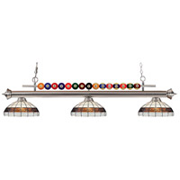 Shark 3 Light 58 inch Brushed Nickel Island Light Ceiling Light in Multi Colored Tiffany Glass (F14-1)