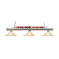 Shark 3 Light 60 inch Brushed Nickel Island Light Ceiling Light in Golden Mottle Fluted