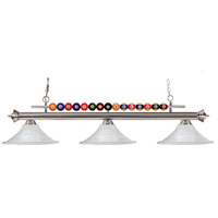 Shark 3 Light 60 inch Brushed Nickel Island Light Ceiling Light in White Mottle Flared