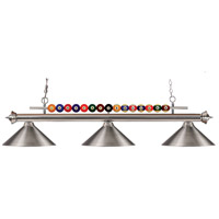 Shark 3 Light 58 inch Brushed Nickel Island Light Ceiling Light in Metal Brushed Nickel