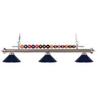 Shark 3 Light 58 inch Brushed Nickel Island Light Ceiling Light in Navy Blue Metal