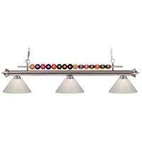 Shark 3 Light 58 inch Brushed Nickel Island Light Ceiling Light in White Plastic
