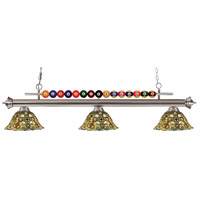 Z-Lite 170BN-R14A Shark 3 Light 58 inch Brushed Nickel Island Light Ceiling Light in Multi Colored Tiffany Glass (R14A)